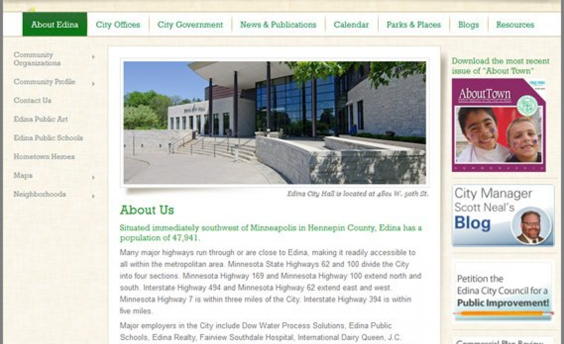 Photo on City of Edina Web Site